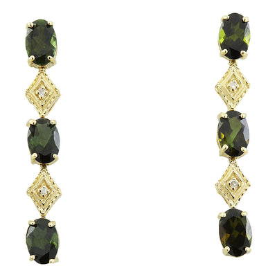 2.65 Carat Tourmaline 14K Yellow Gold Diamond Earrings - Fashion Strada
