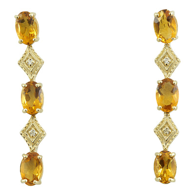 2.65 Carat Citrine 14K Yellow Gold Diamond Earrings - Fashion Strada