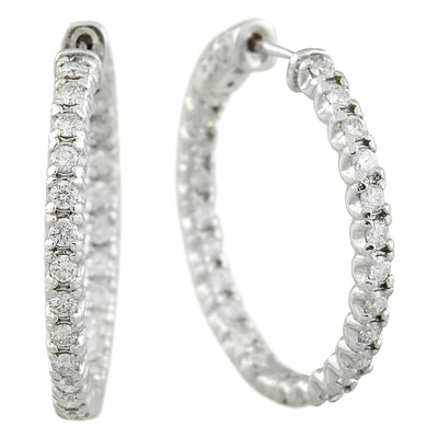 1.40 Carat 14K White Gold Diamond Hoop Earrings - Fashion Strada