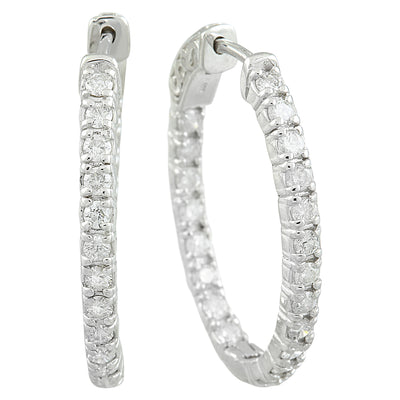 2.00 Carat 14K White Gold Diamond Hoop Earrings - Fashion Strada