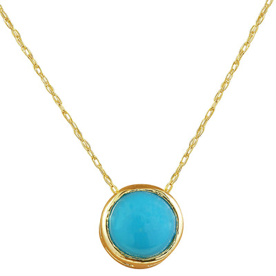 1.50 Carat Turquoise 14K Yellow Gold Necklace