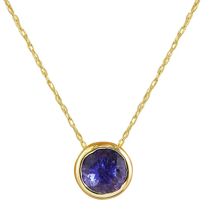 1.50 Carat Tanzanite 14K Yellow Gold Necklace - Fashion Strada