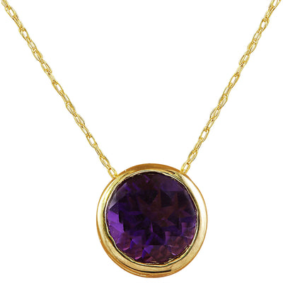 1.50 Carat Amethyst 14K Yellow Gold Necklace - Fashion Strada