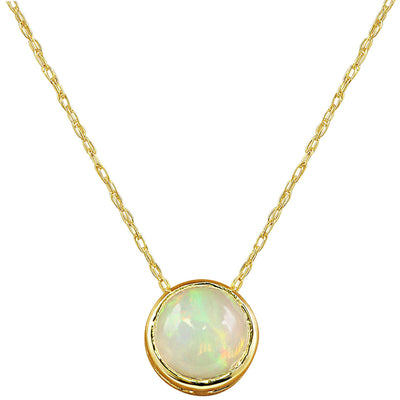 1.50 Carat Opal 14K Yellow Gold Necklace - Fashion Strada