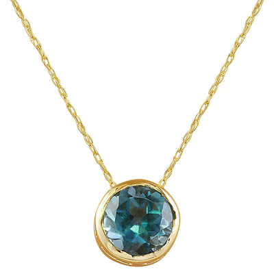 1.50 Carat London Blue Topaz 14K Yellow Gold Necklace