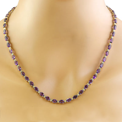 27.50 Carat Amethyst 14K Yellow Gold Diamond Necklace - Fashion Strada