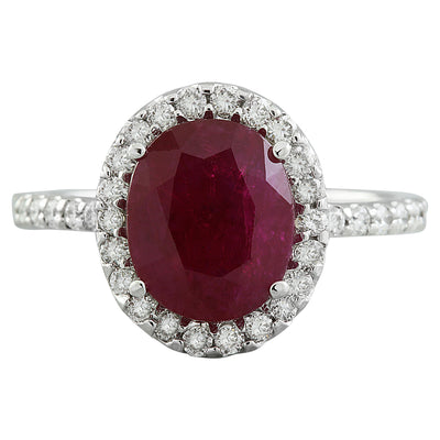 3.44 Carat Ruby 14K White Gold Diamond Ring - Fashion Strada