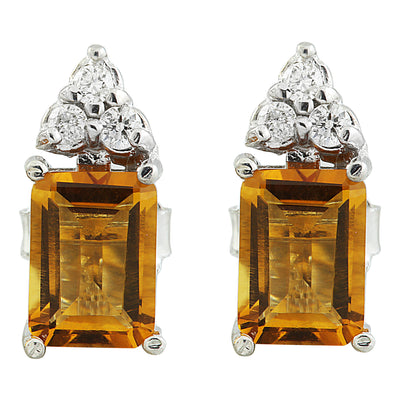 2.65 Carat Citrine 14k White Gold Diamond Earrings - Fashion Strada