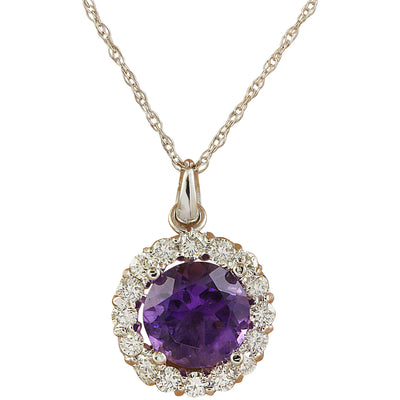 1.82 Carat Amethyst 14K White Gold Diamond Necklace - Fashion Strada