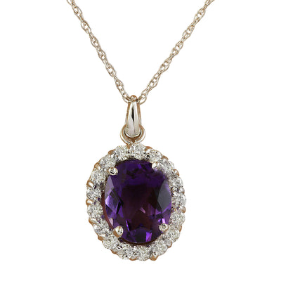 2.00 Carat Amethyst 14K White Gold Diamond Necklace - Fashion Strada