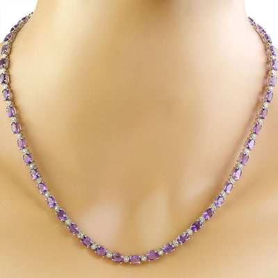 27.50 Carat Amethyst 14K White Gold Diamond Necklace - Fashion Strada