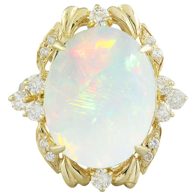 8.87 Carat Opal 14K yellow Gold Diamond Ring