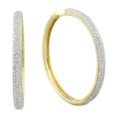 1.45 Carat Diamond 18K Yellow Gold Hoop Earrings