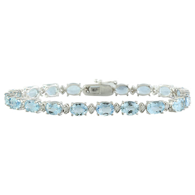 15.20 Carat Aquamarine 14K White Gold Diamond Bracelet - Fashion Strada
