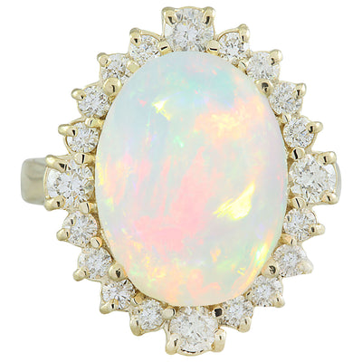 6.55 Carat Opal 14K yellow Gold Diamond Ring