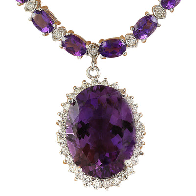 43.05 Carat Amethyst 14K White Diamond Necklace