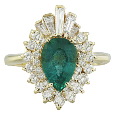 2.60 Carat Emerald 14K Yellow Gold Diamond Ring - Fashion Strada