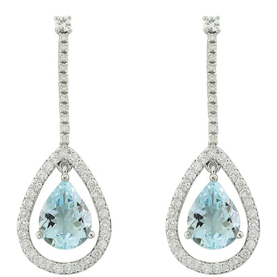 7.70 Carat Aquamarine 14K White Gold Diamond Earrings