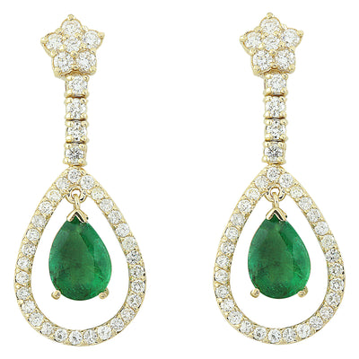 7.05 Carat Emerald 14K Yellow Gold Diamond Earrings - Fashion Strada
