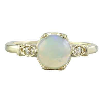 1.08 Carat Opal 14K Yellow Gold Diamond Ring