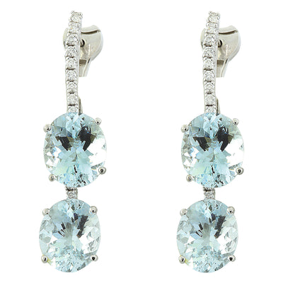 16.60 Carat Aquamarine 14K White Gold Duiamond Earrings