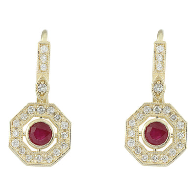 1.60 Carat Ruby 14K Yellow Gold Diamond Errings