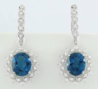 9.75 Carat Topaz 14K White Gold Diamond Earrings