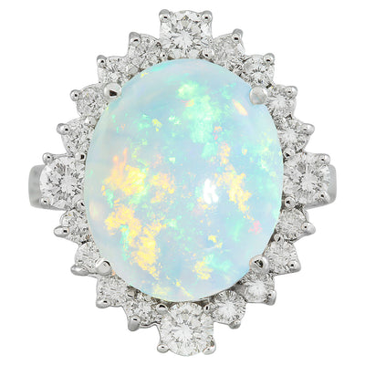 5.85 Carat Opal 14K White Gold Diamond Ring