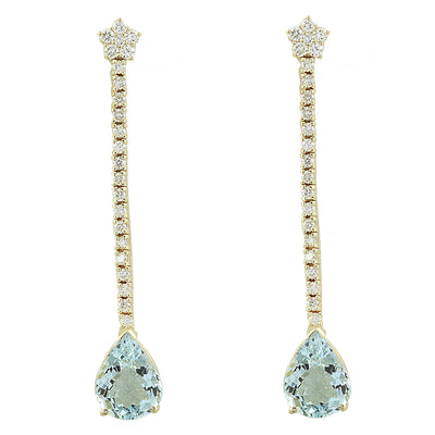 7.17 Carat Aquamarine 14K Yellow Gold Diamond earrings
