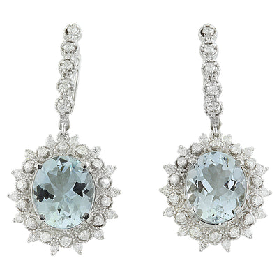 8.65 Carat Aquamarine 14K white Gold Diamond Earrings