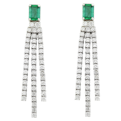 4.62 Carat Emerald 14K White Gold Diamond Earrings