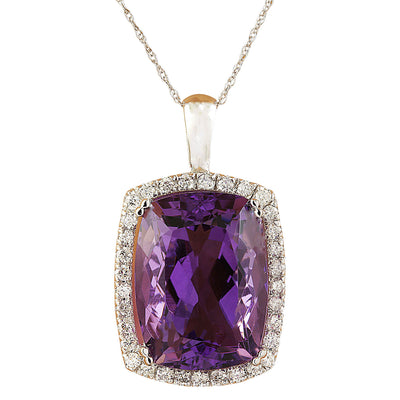 7.85 Carat Amethyst 14K White Gold Diamond Necklace