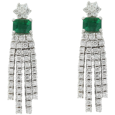 5.01 Carat Emerald 18K White Gold Diamond Errings