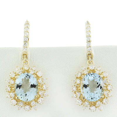 8.07 Carat Aquamarine 14K Yellow Gold Diamond Earrings