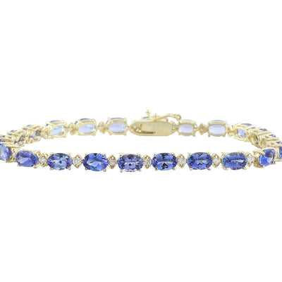 13.45 Carat Tanzanite 14K Yellow Gold Diamond Bracelet - Fashion Strada