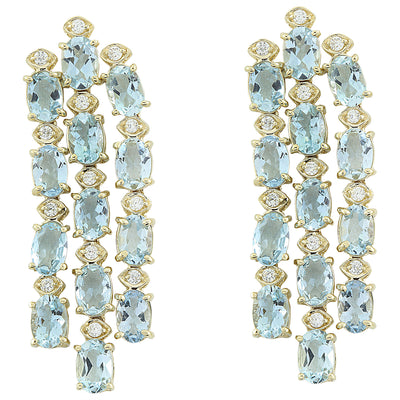 9.90 Carat Aquamarine 14K Yellow Gold Diamond Earrings
