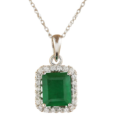 3.73 Carat Emerald 14K White Diamond Necklace