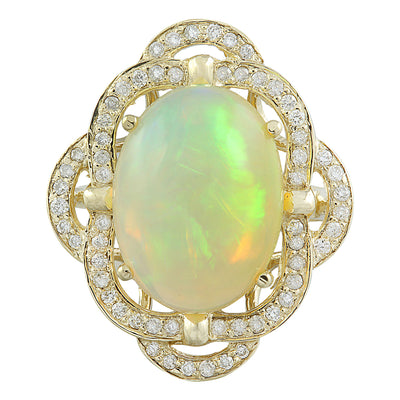7.05 Carat Opal 14K Yellow Gold Diamond Ring