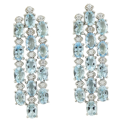 9.95 Carat Aquamarine 14K White Gold Diamond Earrings
