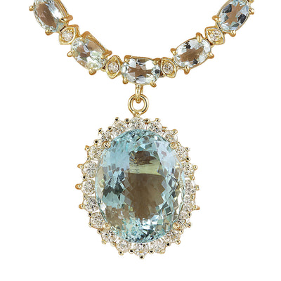 37.30 Carat Aquamarine 14K Yellow Gold Diamond Necklace