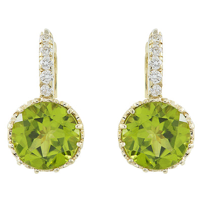 5.15 Carat Peridot 14K yellow Gold Diamond Earrings