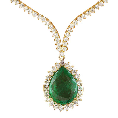 11.27 Carat Emerald 18K Yellow Gold Diamond Necklace