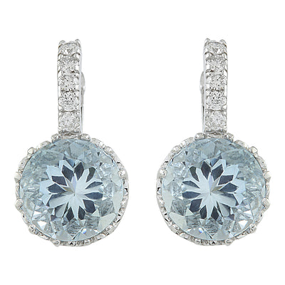 5.10 Carat Aquamarine 14K White Gold Diamond Earrings - Fashion Strada