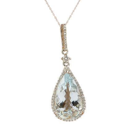 6.57 Carat Aquamarine 14K White Gold Diamond Necklace