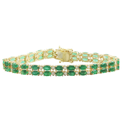 11.78  Carat Emerald 14K Yellow Gold Diamond Bracelet - Fashion Strada