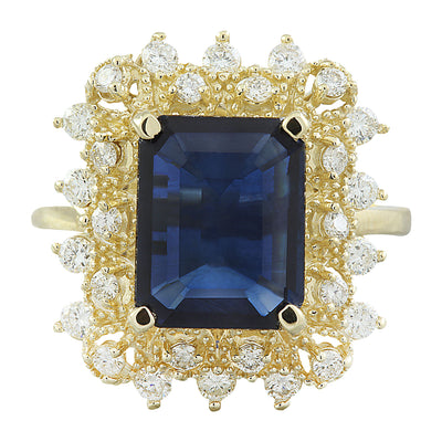7.03 Carat Sapphire 14K Yellow Gold Diamond Ring - Fashion Strada