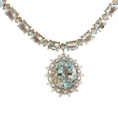 32.04 Carat Aquamarine 14K White Gold Diamond necklace