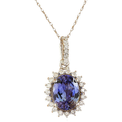 3.72 Carat Tanzanite 14K white Gold Diamond Necklace