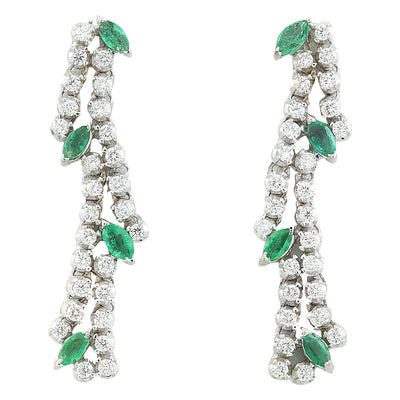 2.98 Carat Emerald 18K White Gold Diamond Earrings - Fashion Strada