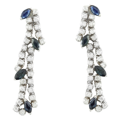 3.20 Carat Sapphire 18K White Gold Diamond earrings - Fashion Strada